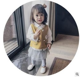 Wholesale Cute Baby Girl Yellow Outfits - Baby kids outfits girls lapel single-breasted shirt+Bunny cartoon knitting vest sweater+leisure tulle dress pants 3pcs kids clothes G1179