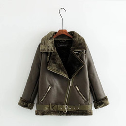 Wholesale Girl Army Jacket - Single Fur Fashion Girls Long Leather Jacket Coat Terry Locomotive Lapel Top Warm Deer-skin Lamb Jacket The Knight Coat Slim