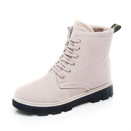 Wholesale Resistance Shoes - High quality Winter Snow Boots Low Heels Lace Short Boots With Plush Women Slip Resistance Winter Shoes Warm