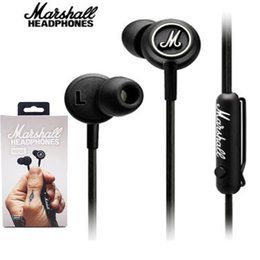 Wholesale Cell Phone Ear Buds - For Iphone Marshall MODE Headphones In Ear Headset Black Earphones With Mic HiFi Ear Buds Headphones For Mobile Phones DHL Free EAR204