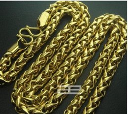 "Wholesale Cool Weave - 18K 18CT Gold Filled Men's Weaved 23.5""inch Lenght Cool Chain Necklace N193"