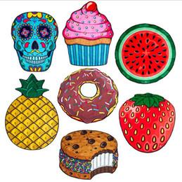 Wholesale Pie Designs - 7 Design Round Shawl Skull Ice Cream Strawberry Smiley Emoji Pineapple Pie Watermelon Beach Shower Towel Blanket Beach Towel b1195-1