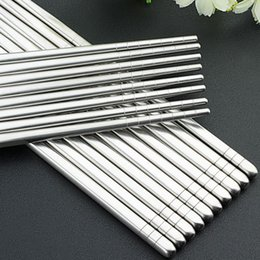 Wholesale Chinese Tableware - Hot Sale 5 Pairs Stainless Steel Sliver Chopsticks Chinese Reusable Non-Slip Hashi Sushi Sticks Kitchen Tableware Sets