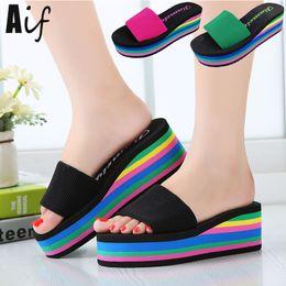 Wholesale leopard wedges shoes - Wholesale-Women sandals slippers 2016 new summer fashion rainbow leopard muffin sandals home shoes wedge heels beach sandals ALF134