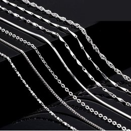Wholesale Diy Sterling Silver Necklace Chain - 18 '' 45CM 100% 925 Sterling Silver Smooth Snake Cross Rope Chain Necklace With Extension Cheap DIY Jewelry Component