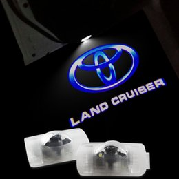 Wholesale Logo Welcome Led Toyota - 2x LED Land cruiser Car Door Logo Light HD brightness 3D Ghost Shadow Courtesy Laser Projector Welcome Lamp bulb