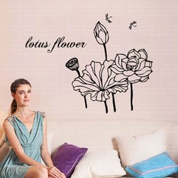 Wholesale Drop Ship Vinyl - 9281 New Fashion Flower Lotus DIY Art Wall Sticker For Vinilos Paredes Vinyl Removable Paper Home Decor Drop Shipping