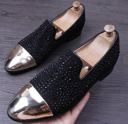 Wholesale Tenis Dresses - 2017 New Men Glitter rhinestone joint Casual ShoeS Flats Male Homecoming Dress Wedding Prom Shoes Sapato Social Masculino tenis 35