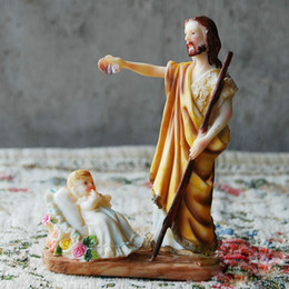 Wholesale Sculpture Home Decoration - 14cm Christian Resin Sculpture Crafts The Father and Holy Baby Ornament Lifelike Christian Gifts European Home Decoration
