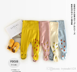Wholesale Girls Pantynose - new arrival baby kids candy color Leggings 100% cotton smile face and fruit print pantynose fall cute baby kids pants