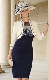 2019 chaqueta de organza azul marino Nuevo vestido de cóctel con volantes, vestido de cóctel para la boda de la madre del novio de condici de encaje de la novia vestidos de escote redondo hasta la rodilla de la rodilla