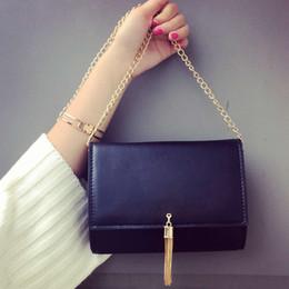 Wholesale Envelope Purse Clutch Pu - Luxury Designer Brand Handbags New 2017 Fashion Metal Logo Tassel Chain Shoulder Bag Women Messenger Bags Envelope Clutch Small Purse