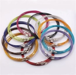 """Wholesale Stainless Steel Screw Clasps Wholesale - 100 Pcs New Mixed Multi Color Stainless Steel Wire Cord Necklaces Chains Charms Jewelry 18"""" Length Jewelry DIY Screw Clasp Chokers"""