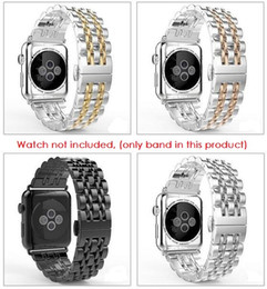 Wholesale Watch Clasp Stainless Steel Butterfly - Classic Mix Strip Color Metal Band For Apple Watch Series 2 and 1 Stainless Steel Bracelet Wrist Watch Strap Butterfly Clasp