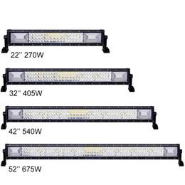 Wholesale 126w Led Bar - 22'' 32'' 42'' 52'' Straight 3-rows LED Light Bar Offroad Combo Beam 12V 24V CREE BAR ATV Car SUV Jeep Boat Driving Lamp 270W 405W 540W 675W