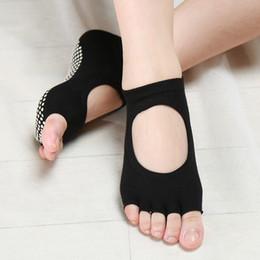Wholesale Yoga Pilates Toes Socks - New 2017 Half Five Fingers Cotton Half Toe Yoga Socks Non-Slip Peep Toe Pilates Ankle Grip Durable Open Anti-Slip Yoga Socks