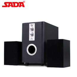 Wholesale Wooden Pc Speakers - Wholesale- SADA D-200T Wood Surround Desktop Multi Media Subwoofer Stereo Heavy Bass PC Computer USB Wooden Speaker Speakers for Smartphone