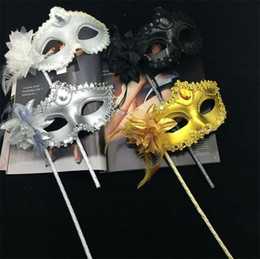 Wholesale silver party masks - Luxury Woman Mask On Stick Sexy Eyeline Venetian Masquerade Party Mask Sequin Lace Edge Lateral Flower Gold Silver Black White Color I054
