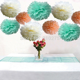 Wholesale Paper Tissue Pompom - Wholesale-18PCS Mixed Ivory Peach Mint Party Tissue Pom Poms Paper Decorative Flower Pompoms Wedding Birthday Party Nursery Decoration