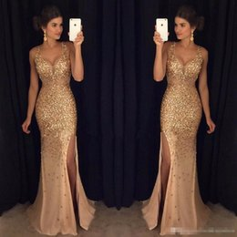 Wholesale Long Dress Party Import - Luxury 2017 Crystal Beaded Prom Dresses Long Mermaid Style Side Split Deep V-Neck Imported Party Dress Formal Evening Gowns Special Occasion