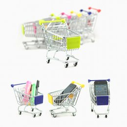 Wholesale Cart For Toys - Mini Supermarket Shopping Cart Toys Hand Trolleys Metal Desktop Decoration Model Accessories Storage Phone Holder Toys for Children