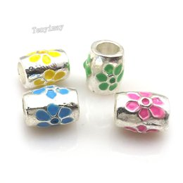 Wholesale Metal Shapes For Jewelry Making - Mixed Color 100pcs Drum Shape Enamel Big Hole Charm Beads For Jewelry Making Fashion DIY Accessory
