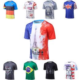 Wholesale Man United Flags - Fashion Cool World United Kingdom Lion Germany Summer 3D T Shirt Short Sleeve National Flag Funny Brazil Soccer Men Women T-Shirt S-4XL
