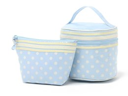 Wholesale Girls Dot Set - H1944 CUTE SWEET GIRL Beautiful Blue & White Dots Perfect women Wash Bag Cosmetic Storage Bag 2 bag set 0.4