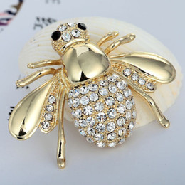 Wholesale Gold Bee Pin Brooch - Small Size Bee Brooches Jewelry Vintage Broaches Women Party Anniversary Jewelry Rhinestone Pin Brooch Hijab Accessories