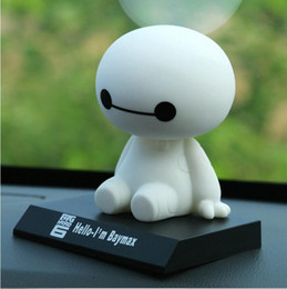 Wholesale Shaking Head Dolls - Baymax Robot Bobble Head Toys Car Toys Figure Toy Car Accessories Shaking his head