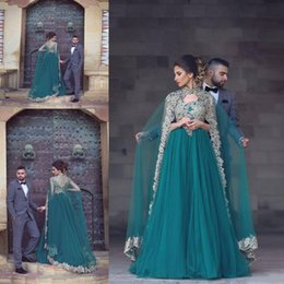 Wholesale Teal Evening Gown Dresses - Arabic Cape Style Teal Prom Dresses 2017 Gold Lace Appliques Sheer Back A Line Evening Gowns Tulle Floor Length Dubai Formal Party Dress