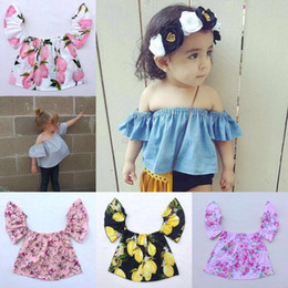 Wholesale Boutique Shirts Baby Girl - girl off shoulder tops summer baby floral sunflower shirts + flower headbands girls boutique clothing sets little girl clothes tank top