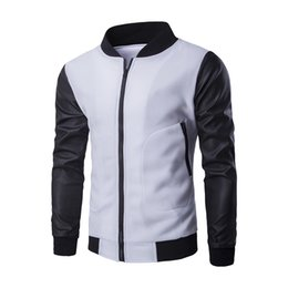 Wholesale Mens Leather Baseball Jackets - Men Fashion Design Coat New white Baseball Jacket & Black Pu Leather Sleeve Mens Slim zipper bomber Autumn Winter Jacket Brand Homme