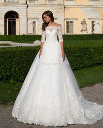 Wholesale Sheer Bodice Ball Gown - off the shoulders lace corset with three quarters sleeves wedding gowns 2017 Milla nova bridal dresses layers tulle skirt chapel train