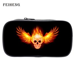 Wholesale Womens Purses Skulls - Wholesale- Special Offer Cool Polyester Printing Skull Black Boys Key Wallets Womens Pencil Bags Children Coin Purses Babys Gift Bag