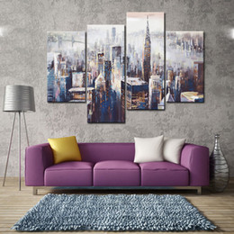Wholesale Wall Hanging Oil Painting Frame - 4 Panels Wall Art Colorful City Abstract Painting Prints on Canvas for Home Decoration with Wooden Framed Ready to Hang