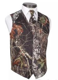Wholesale Suit Slim Fit Cotton - 2017 New V-Neck Camo Mens Wedding Vests Outerwear Camouflage Groom Vest Realtree Spring Slim Fit Mens Suit Waistcoat(Vest+Tie)