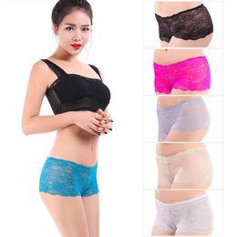 Wholesale Transparent Sexy Woman Boxers - Yun Meng Ni Underwear Sexy Mature Women Transparent Lace Boxer Shorts Ladies Sexy Lace Boyshort Panites