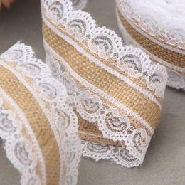 Deutschland 10m Natural Jute Burlap Hessian Lace Ribbon Roll + White Lace Vintage Wedding Decoration Party Christmas Crafts Decorative Versorgung
