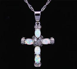 Wholesale Silver Cross Pendants For Women - Christian Cross White Fire Opal Stone Silver Plated Pendants For Women PJ16011004