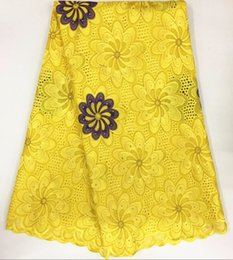 Wholesale Yellow Lace Yard - 5 Yards lot Luxury yellow and purple embroidery african cotton lace fabric flower design swiss voile lace for clothes BC132-1