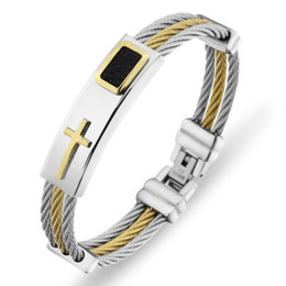 Wholesale Mens Leather Cross Bracelet - Wholesale- 2017 New Gold Jesus Cross Bracelet Men Jewelry Stainless Steel Mens Rock Bracelets & Bangles Leather Pulseira Masculina