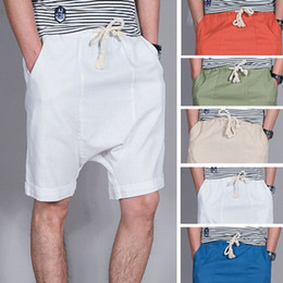 Wholesale Trouser Material For Men - Wholesale-2016 New loose fashion linen material casual shorts men trousers hip hop shorts for man fashion harem Men Jogger Shorts