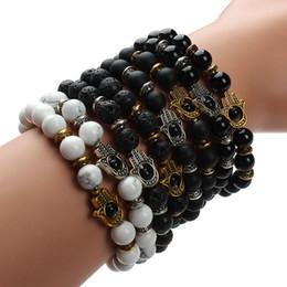 Wholesale 8mm Black Lava Bead - Wholesale-Drop Shipping!!! 8mm Natural Black Lava Energy Stone Beads Bracelet Gold Hamsa Hand Charm Bracelet Yoga Mala Bracelets F2830