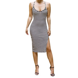 Wholesale Wholesale Bodycon Midi Dress - Wholesale- 2017 Women Summer Dress O Neck Bodycon Dress Stripe Pattern Open Back Side Split Beach Dress Sexy Midi Party Dresses Vestidos