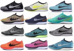 Wholesale Women Cycling Shoes 36 - Free Shipping Top Quality Fly Racer Running Shoes For Women & Men, Lightweight Breathable Athletic Outdoor Sneakers Eur 36-45 Fly Racer
