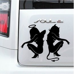 Wholesale Devil Car Decals - 1pcs The Angel And Devil Car Decals 20cm*15cm Beautiful Woman Sexy Car Stickers Beauty Angel Devil Car Pasters