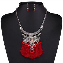 Wholesale Earrings Indian Tassel - New Fashion Bohemian Jewelry Sets women Crystal Line Tassel Necklace Choker Necklace Vintage Ethnic Maxi Necklace earring HD-071
