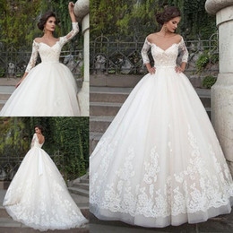 Wholesale Three Quarter Length Dressing Gowns - 2017 Ivory Elegant Wedding Dresses with Appliques Sheer Sweetheart Heart Neckline Three Quarters Sleeves Floor Length Bridal Gowns