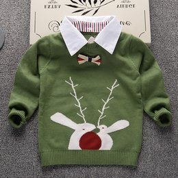 Wholesale Kids Thick Sweater - 2017 Autumn Winter New Shirt stripe Plaid stripes Kids Boy Sweater Children Clothing Baby Cotton thick wool top Boys Pullover